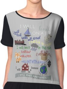 "Knitting Products ""I Will Knit with a Goat..."" Chiffon Top"