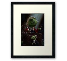 Dinosaur Judge in UK Court of Law Framed Print