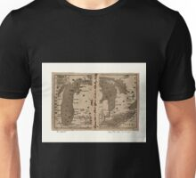 0132 Railroad Maps Railroads in Michigan with steamboat routes on the Great Lakes Drawn and engraved for Doggett's railroad guide Unisex T-Shirt
