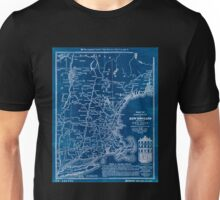 0052 Railroad Maps Map of railways in New England and part of New York engraved by D C Hitchcock for the Pathfinder Railway Inverted Unisex T-Shirt