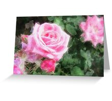 Pink Roses in Anzures 1 Watercolor Greeting Card