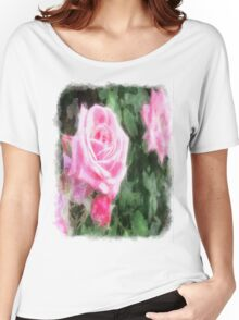 Pink Roses in Anzures 1 Watercolor Women's Relaxed Fit T-Shirt