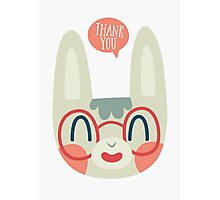 Cute Green Bunny Wearing Glasses Photographic Print