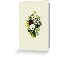 Pansies, Flowers, Leaves - Blue Yellow White Greeting Card
