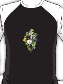 Pansies, Flowers, Leaves - Blue Yellow White T-Shirt