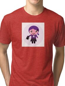 Little emo girl drawing - vintage purple style character Tri-blend T-Shirt