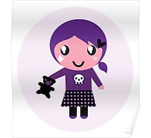 Little emo girl drawing - vintage purple style character Poster