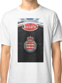 Vintage sports car radiator with worn Bugatti Monaco badges  Classic T-Shirt
