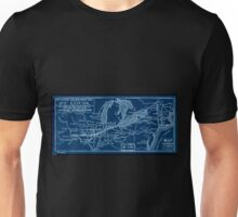 0401 Railroad Maps Map of the Toledo Wabash and Gt Western Rail Road Line and its Inverted Unisex T-Shirt