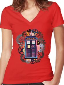 Colorful TARDIS Art Women's Fitted V-Neck T-Shirt