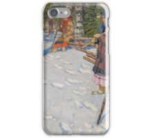 NIKOLAI BOGDANOV-BELSKY,() Children in a Wintry Forest iPhone Case/Skin