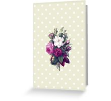 Roses, Flowers, Blooms, Leaves - Pink Green White Greeting Card