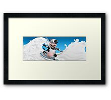 My Cow surfs on the milk Framed Print
