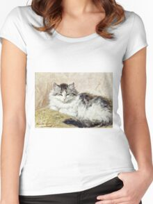 Henriette Ronner - A Cat  Women's Fitted Scoop T-Shirt