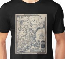 0052 Railroad Maps Map of railways in New England and part of New York engraved by D C Hitchcock for the Pathfinder Railway Unisex T-Shirt