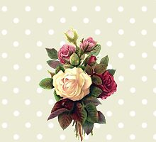 Roses, Flowers, Blooms, Leaves - Red Green White by sitnica