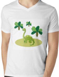 Green long necked dinosaur Mens V-Neck T-Shirt