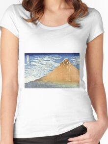 Hokusai Katsushika - Fine Wind, Clear Morning  (The Red Fuji)  Women's Fitted Scoop T-Shirt