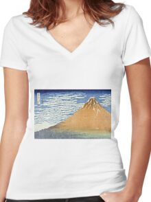 Hokusai Katsushika - Fine Wind, Clear Morning  (The Red Fuji)  Women's Fitted V-Neck T-Shirt