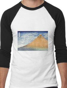 Hokusai Katsushika - Fine Wind, Clear Morning  (The Red Fuji)  Men's Baseball ¾ T-Shirt