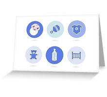 Baby boy blue icons collection Greeting Card