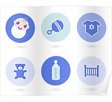 Baby boy blue icons collection Poster