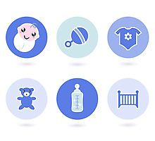 Baby boy blue icons collection Photographic Print