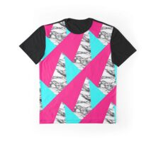 Modern Pink Teal Black White Marble Geometric Graphic T-Shirt