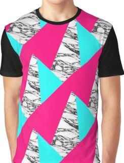Modern Pink Teal Black White Marble Geometric Graphic T-Shirt