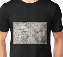 0037 Railroad Maps Railroads in New Jersey Pennysylvania Delaware and Maryland drawn and engraved for Doggett's Railroad Guide Unisex T-Shirt