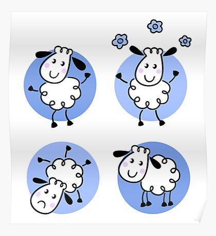 Happy doodle sheep set : nice little sheeps Original designers Edition Poster