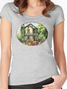 Farmhouse with Spring Tulips Women's Fitted Scoop T-Shirt