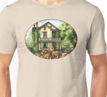 Farmhouse with Spring Tulips Unisex T-Shirt