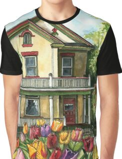 Farmhouse with Spring Tulips Graphic T-Shirt