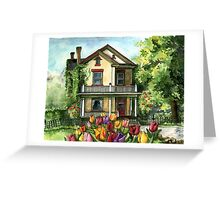 Farmhouse with Spring Tulips Greeting Card