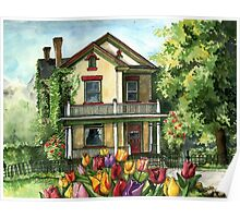 Farmhouse with Spring Tulips Poster