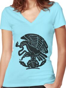 Mexico City Emblem Women's Fitted V-Neck T-Shirt
