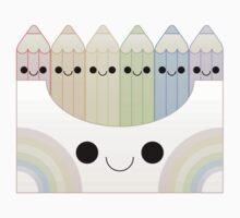 kawaii pastel colored pencil box One Piece - Long Sleeve
