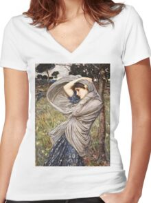 John William Waterhouse - Boreas  Women's Fitted V-Neck T-Shirt