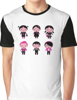 Six cute stylized teenegers in emo style : original fashion illustration Graphic T-Shirt