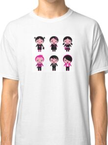 Six cute stylized teenegers in emo style : original fashion illustration Classic T-Shirt