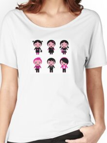 Six cute stylized teenegers in emo style : original fashion illustration Women's Relaxed Fit T-Shirt