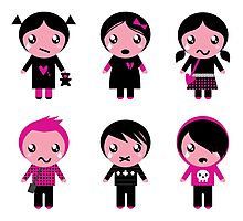 Six cute stylized teenegers in emo style : original fashion illustration Photographic Print