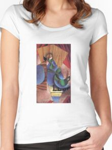 Juan Gris - Glass Cup And Newspaper 1913 Women's Fitted Scoop T-Shirt