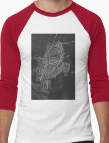 Cali, Colombia Map. (White on black) Men's Baseball ¾ T-Shirt