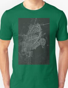 Cali, Colombia Map. (White on black) Unisex T-Shirt