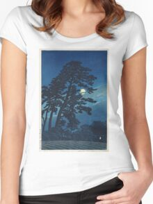 Kawase Hasui - Full Moon In Magome Women's Fitted Scoop T-Shirt