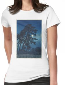 Kawase Hasui - Full Moon In Magome Womens Fitted T-Shirt