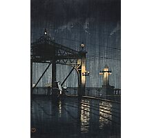 Kawase Hasui - Night Rain On Shin-O-Hashi Photographic Print