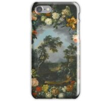 Vincenzo Martinelli  A FLORAL GARLAND SURROUNDING A RIVER LANDSCAPE iPhone Case/Skin